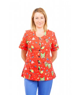 T05 Nursing Uniforms Fitted Scrub V Neck Fun Bug Red T05-FBR