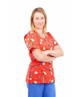T03 Nurses Tunic Sweetheart Neckline Fun Bug Red T03-FBR