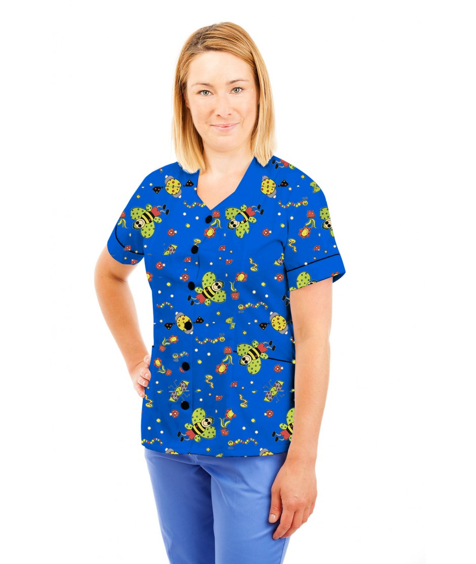 T03 Nurses Tunic Sweetheart Neckline Fun Bug Blue T03-FBB