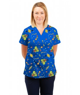 T05 Nursing Uniforms Fitted Scrub V Neck Fun Bug Blue T05-FBB