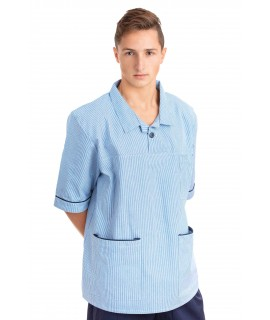 T22 : Nurses Top Revere Collar Male Light Blue Pinstripe T22