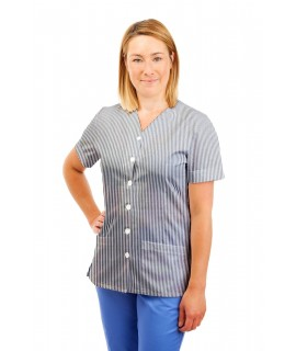 T02 Navy and White Pinstripe- Nurses Uniform V Neck T02