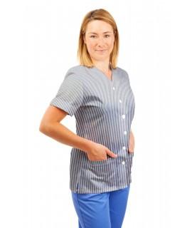 T02 Navy and White Pinstripe- Nurses Uniform V Neck T02