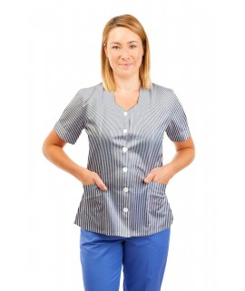 T03 Navy and White Pinstripe - Nurses Tunic Sweetheart Neckline T03