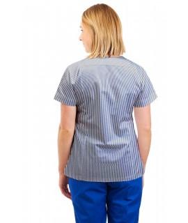 T04 Navy and White Pinstripe- Nurses Uniform Fitted Scrub Round Neck T04