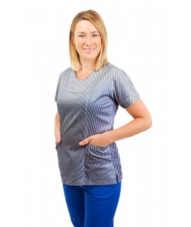 T04 Nurses Uniform Fitted Scrub Round Neck Pinstripe Navy and White T04-PNB