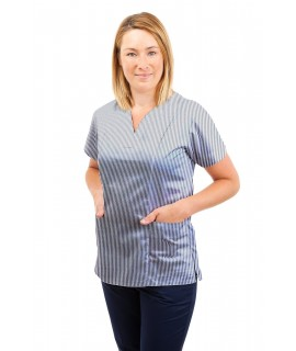 T05 Navy and White Pinstripe - Nursing Uniforms Fitted Scrub V Neck T05