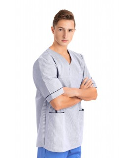 T21 Nursing Uniforms Top V Neck Male Pinstripe Navy and White T21-PNB