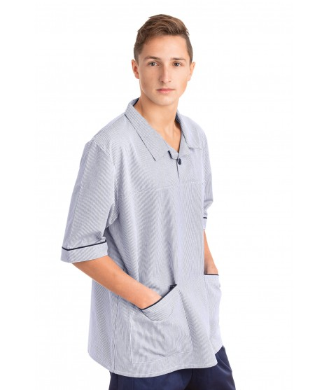 T22 Nurses Top Revere Collar Male Pinstripe Navy and White T22-PNB
