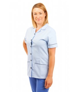 T01 Sky Blue - Nurses Uniform Tunic Revere Collar T01