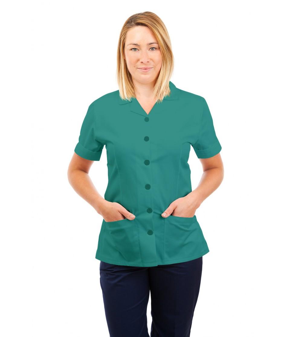 T01 Nurses Uniform Tunic Revere Collar Aqua T01-AQU