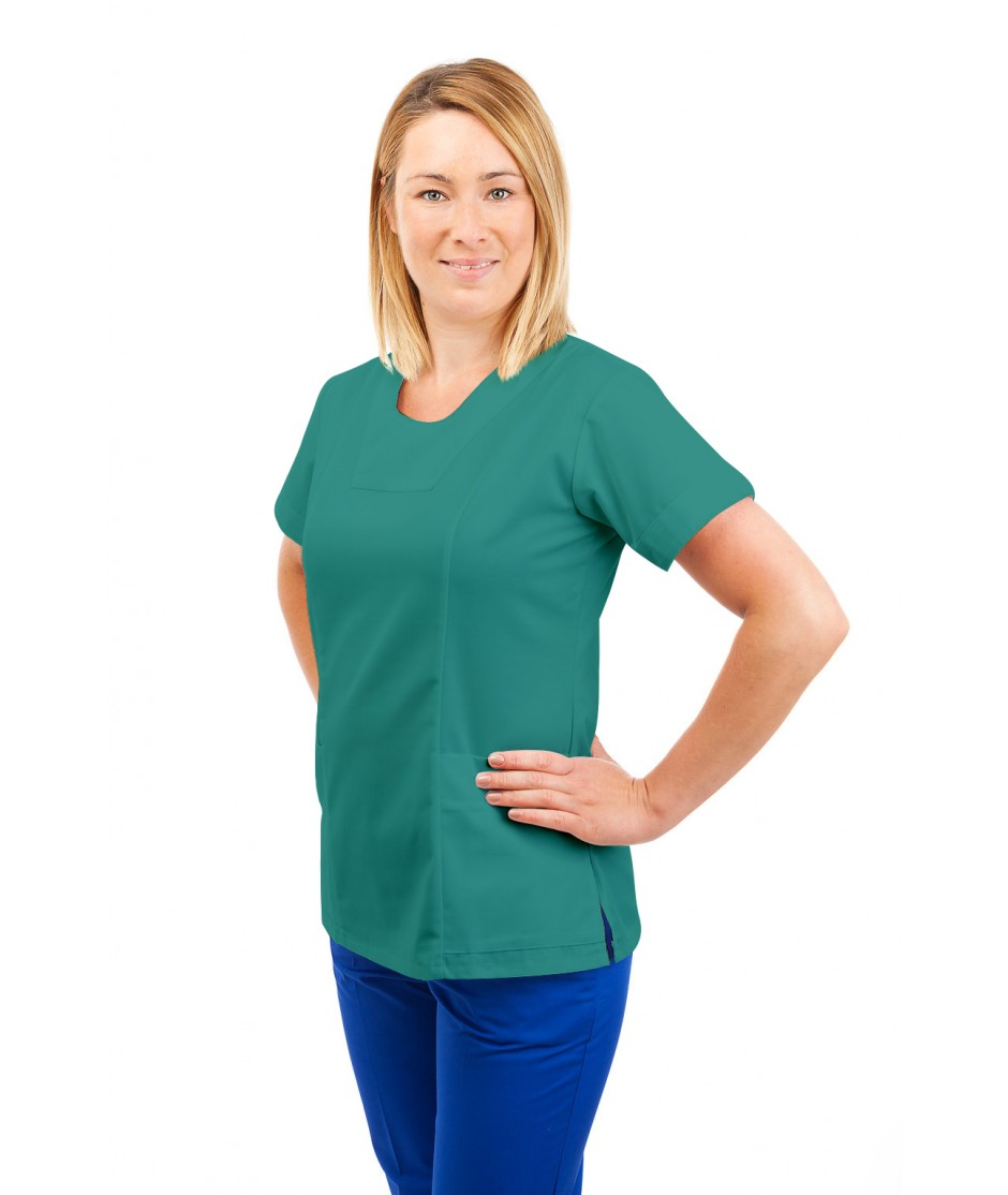 T04 Nurses Uniform Fitted Scrub Round Neck Aqua T04-AQU