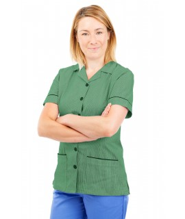 T01 Nurses Uniform Tunic Revere Collar Pinstripe Aqua Green and White T01-PAQ
