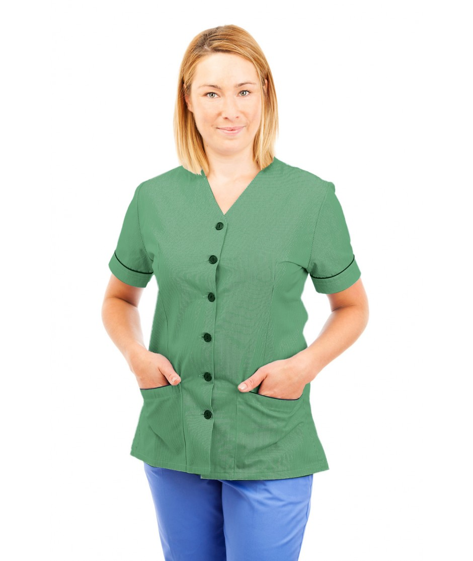 T02 Nurses Uniform V Neck Pinstripe Aqua Green and White T02-PAG