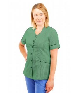 T03 Nurses Tunic Sweetheart Neckline Pinstripe Aqua Green and White T03-PAQ