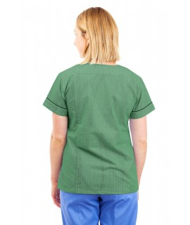 T04 Nurses Uniform Fitted Scrub Round Neck Pinstripe Aqua and Green T04-PAQ