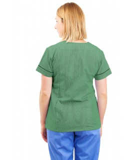 T05 Nursing Uniforms Fitted Scrub V Neck Pinstripe Aqua and Green T05-PAQ