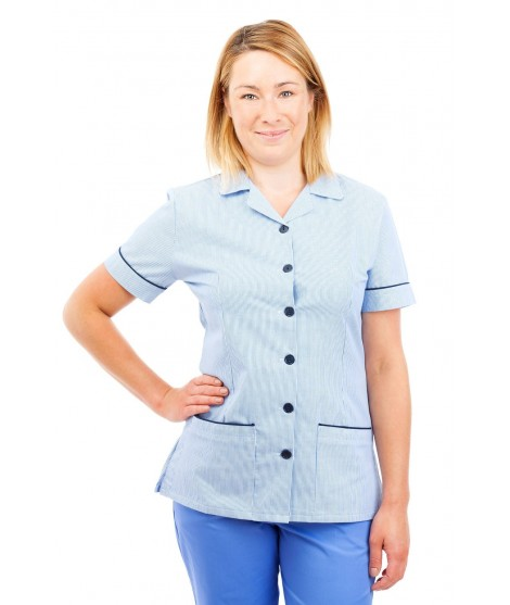 T01 Light Blue Pinstripe - Nurses Uniform Tunic Revere Collar T01
