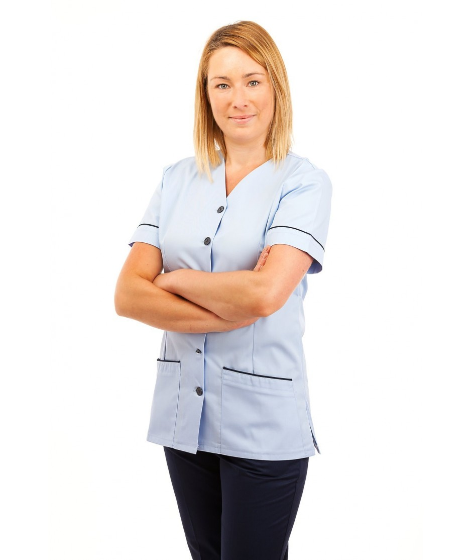 T02 Sky Blue - Nurses Uniform V Neck T02
