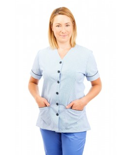 T02 Light Blue Pinstripe - Nurses Uniform V Neck T02