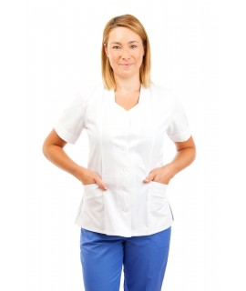White - Nurses Tunic Sweetheart Neckline T03 T03